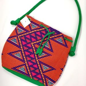 NWT - Street Level Aztec Beaded Canvas Tote